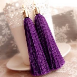 PREVIEW!! Purple Fringe Tassels Statement Earrings